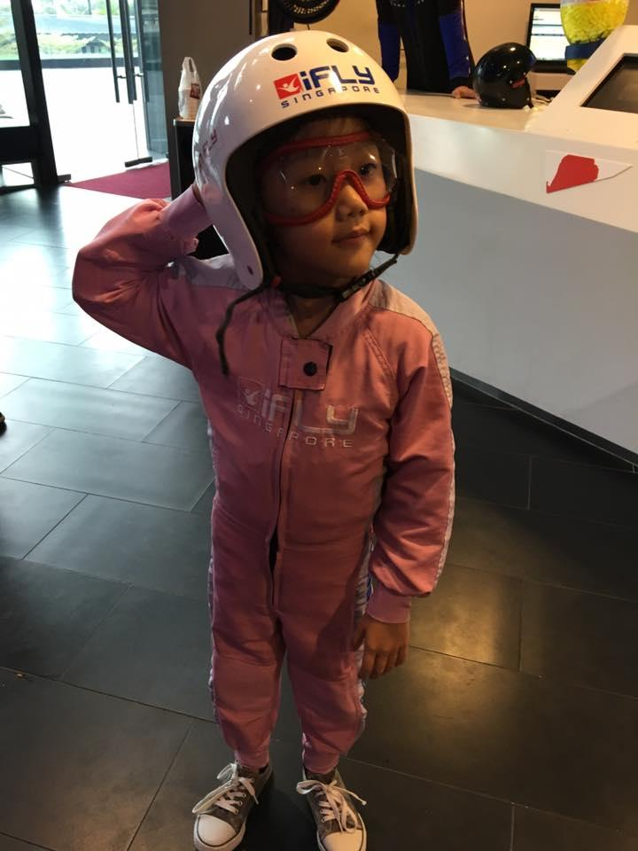Lauren in her iFly Singapore indoor skydiving gears
